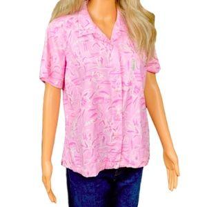 Columbia Pink White Flamingo Shirt Button Pocket